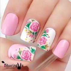 Celebrate Mother's Day 2019 with these adorable Mother's Day Nail art ideas. Check the best Mother's Day nail designs and make your Mom feel special. Flower Nail Designs, Flower Nail Art, Beautiful Nail Designs, Nail Art Designs, Nail Art Rose, Rose Nails, Heart Nails, May Nails, Hair And Nails