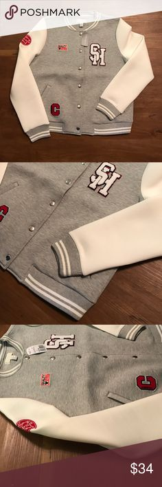 Grey & White Letterman jacket Grey & White Letterman jacket | size 1X | never worn new with tags Forever 21 Jackets & Coats