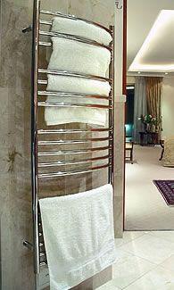 Jeeves Model M Towel Warmer has an integral shelf. Towel Warmer, Towel Rail, Bathrooms, Shelf, Model, Decor, Towel Racks, Shelving, Decoration