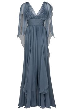 Eastland Sheer Sleeve Gown in Blue (nude) | Lyst