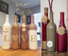 Ανακυκλώστε μπουκάλια κρασιού και χρησιμοποιήστε χρώματα, σπάγκο και γράμματα για να πείτε ΣΠΙΤΙ, ΟΙΚΟΓΕΝΕΙΑ ή ΑΓΑΠΗ. Δημιουργήστε τα δικά σας DIY φανάρια με μπουκάλια για να διακοσμήσετε ένα γάμο. Diy Bedroom Decor, Home Decor, Bottle, Sweets, Foods, Food Food, Decoration Home, Food Items, Room Decor