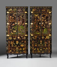 Ormolu mounted lacquered corner cabinets., the lacquer partly Kangxi period Chinese, the cabinets Europe, mid 18th Century