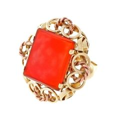 Pre-owned Vintage 14K Yellow and Rose Gold with Carnelian Ring Size... (¥201,455) ❤ liked on Polyvore featuring jewelry, rings, red gold ring, 14k rose gold ring, vintage jewelry, 14 karat gold ring and rectangle ring