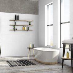 """Les codes de la décoration maison appliqués à l'hôtellerie - Salle de bain """"comme chez soi"""" Revêtement mural décoratif made by #Grosfillex"""