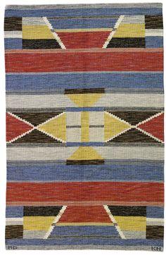 Märta Gahn; Wool Flat-Weave Rug, 1930s.