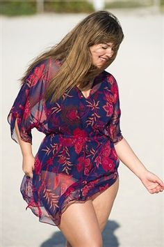 Plus size Swimwear - Floral silk kaftan
