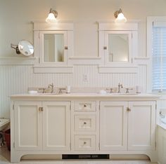 Top trim on beadboard. Trim on base of vanity. Light fixture above mirrors.//beadboard bathroom, white bathroom, double vanity, cottage style, - Bathroom - Other Metro - Laura Double Sink Bathroom, Bathroom Sink Vanity, Vanity Backsplash, Bathroom Wall, Vanity Faucets, Redo Bathroom, 1920s Bathroom, School Bathroom, Bathroom Safety