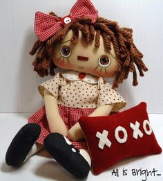 Hugs and Kisses  Raggedy Doll by Allisbright on Etsy