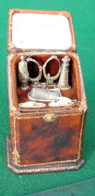Antique Victorian Era Leather Covered Etui Ladies Sewing Kit w Silver Tools