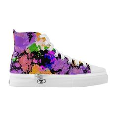 Paint Splattered Black Hi Top Skate ($99) ❤ liked on Polyvore featuring shoes, sneakers, black shoes, canvas high tops, skate shoes, black canvas high tops and rainbow sneakers