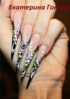 . Love Nails, Pretty Nails, Fun Nails, Long Stiletto Nails, One Stroke Nails, Nails First, Manicure And Pedicure, Pedicures, Nail Candy