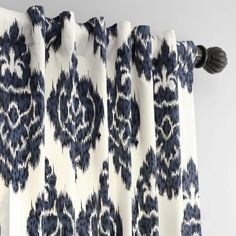 Exclusive Fabrics & Furnishings Ikat Blue Room Darkening Printed Cotton Curtain - 50 in. W x 108 in. L-PRTW-D24A-108 - The Home Depot Blue Pattern Curtains, Ikat Curtains, Cotton Curtains, Ikat Pattern, Curtain Patterns, Curtain Designs, Panel Curtains, Farmhouse Curtains, Room Darkening Curtains