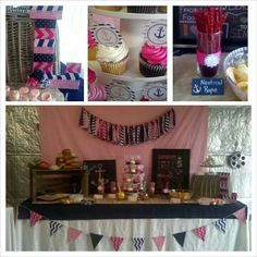Navy and pink girls nautical birthday party