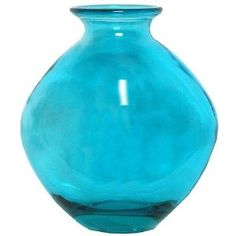 "Spanish Large Recycled Aqua Blue Glass Vase 14.25""H Tradersandcompany amazon.com $52"