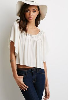 Crocheted Off-the-Shoulder Gauze Top | Forever 21 - 2000079750