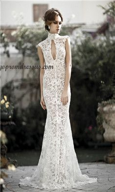 High Collar Mermaid Lace Wedding Dresses Sweep-train Cut-out Long Bridal Gowns Vintage Style Sleeveless Formal Gowns Castle Design Dresses Garden Wedding Dresses, Lace Mermaid Wedding Dress, Bridal Dresses, Wedding Gowns, Prom Dresses, Lace Wedding, Lace Dresses, Dress Lace, Beautiful Gowns