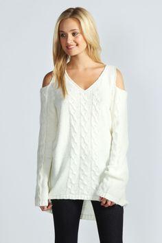 Alisha Cable Soft Knit Cut Out Shoulder Sweater