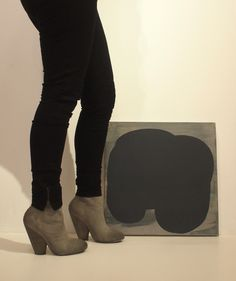 Mixed media on canvas by Miedzik & boots by Marsèll on Shira. / Fashion Monday by Art Interiors / Toronto Art Gallery
