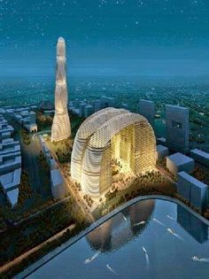 A Futuristic building design aglow in Dubai.