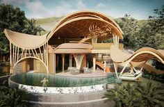Bamboo Architecture, Chinese Architecture, Amazing Architecture, Architecture Design, Beach Restaurant Design, Pavillion Design, Bamboo House Design, Hotel Lobby Design, Wooden Buildings
