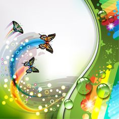 Colorful flower and Butterfly background vector Free Vector Ribbon In The Sky, Boarder Designs, Happy Birthday Wallpaper, Butterfly Background, Illustration Noel, Background Clipart, Birthday Frames, Sunset Wallpaper, Good Night Image