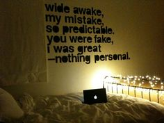 Another option for christmas lights- wrap them around your footboard.  More typography love. All Time Low Lyrics, Nothing Personal, Dream Rooms, Dream Bedroom, Emo Bedroom, Bedroom Wall, Bedroom Ideas, Bedrooms, Typography Love