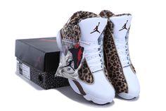 Women Air Jordan 13 Leopard Print White Coffe Shoes