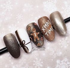 or A portion of tasty, festive inspiration in the next post step by step . Winter Nail Art, Winter Nails, Christmas Nail Art, Holiday Nails, Acrylic Nails, Gel Nails, Brown Nails, Nail Studio, Gel Nail Designs