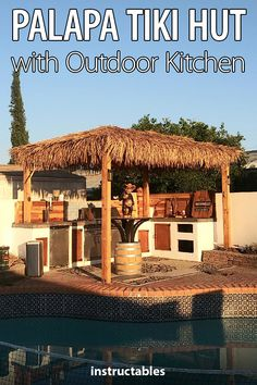 Improve your pool space or just your backyard with a palapa tiki hut with an outdoor kitchen on a budget!