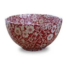 "Burleigh Red Calico Large Sugar Bowl.  5"" in diameter. Red Calico Small bowl for sugar & dips. Nice & deep for candies and nuts too."