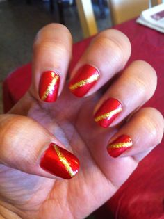 Red and Gold Christmas Themed nail art! (Loved this because it looked like Gryfindor!)