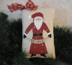 Primitive Christmas Santa Wall Hanging Pillow Tuck Believe Folk Art by auntiemeowsprims on Etsy