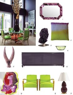 Perfect Pairing: Aubergine + Lime    http://www.jandgdesign.com/thecuratorial/2013/2/19/colorful-combination-aubergine-lime-green