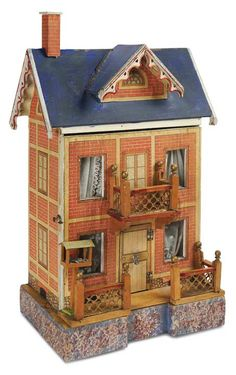 German Wooden Two-Story Blue Roof Dollhouse by Moritz Gottschalk circa 1890