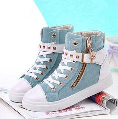 Hot Women Casual Sneakers Rivets Buckle Zipper Walking Sport Canvas Shoes Source by Casual Sneakers, Casual Shoes, Blue Shoes Outfit, Fashion Boots, Sneakers Fashion, Fashion Fashion, Womens Fashion, Fashion Outfits, Fashion Trends