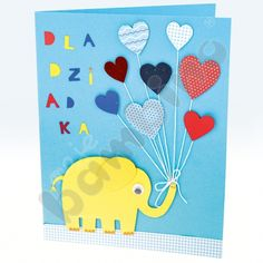 Kartka ze słoniem na Dzień Babci i Dziadka