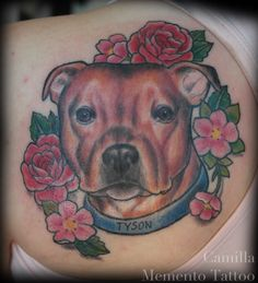 Stylized color portrait of a super cute dog named Tyson :D Camilla - Memento Tattoo - Oslo, Norway