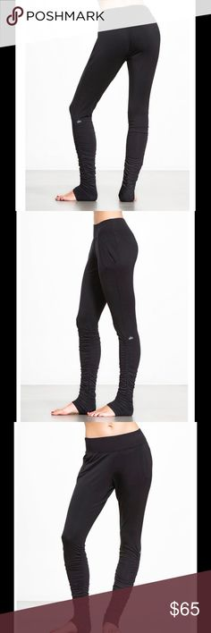 """ALO Luna sweat pant ALO YOGA🔹medium🔹solid black🔹these might be called """"sweatpants"""", but they're far from your basic sweats. The rouched lower leg offers a killer look that pairs well on the go or at the gym and French Terry fabric and slim silhouette make these a pant you'll never want to take off🔹currently SOLD OUT at ALO, but retailing at other vendors such as carbon 38 for $78. 🔹worn once/like new ❤🎈 ALO Yoga Pants Leggings"""