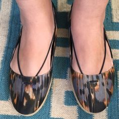 ELIZABETH & JAMES Ikat Espadrilles Flats New without box. Adorable Ikat patterned in blues and orange fabric flats with an espadrilles base and leather sole. Elizabeth and James Shoes Flats & Loafers