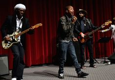 They're up all night to get lucky, again. Nile Rodgers and Pharrell Williams, with some help from GRAMMY winner Don Was, recreate their 56th GRAMMY Awards performance at A Conversation About The 56th GRAMMYs And Beatles Show on May 30 in North Hollywood, Calif.