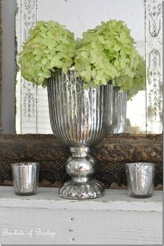 Add a soft touch with flowers to this mercury glass vase: http://www.copperproper.com/5449.html