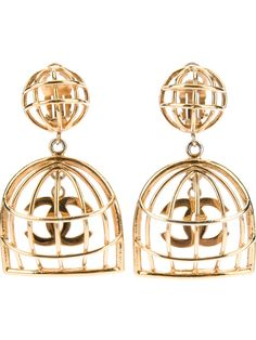 Chanel vintage birdcage earrings