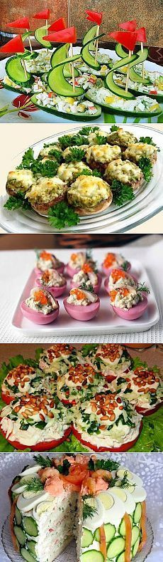 Лучшие кулинарные рецепты: Закуски Canapes Recipes, Appetizer Recipes, Salad Recipes, Snack Recipes, Good Food, Yummy Food, Catering Food, Food Platters, Appetisers