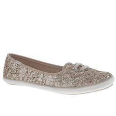 Keds Gold Teacup Glitter Trainers