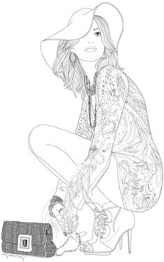Fashion. Adult coloring page.