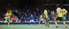 23 February 2013 Leon Osman heads home a cross from Leighton Baines to score at Norwich