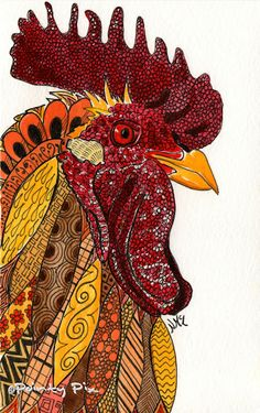 'Cock-a-doodle-doo' watercolour and ink 'doodimal'