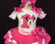 Minnie Mouse Birthday Tutu set by KidsBirthdayOutfits on Etsy