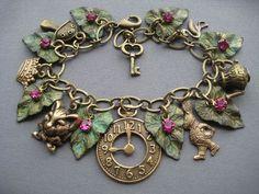 Alice in Wonderland Charm Bracelet  Alice by SilverTrumpetJewelry, $57.00