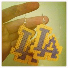 Perler bead LA Lakers earrings